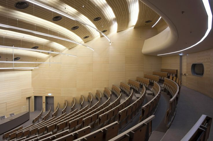 Integrated and continuous #system of #seats and #tables that can be arranged in a straight line or curved composition, on large steps or on sloped flooring @ University Campus Bohunice, Brno, Czech Republic.