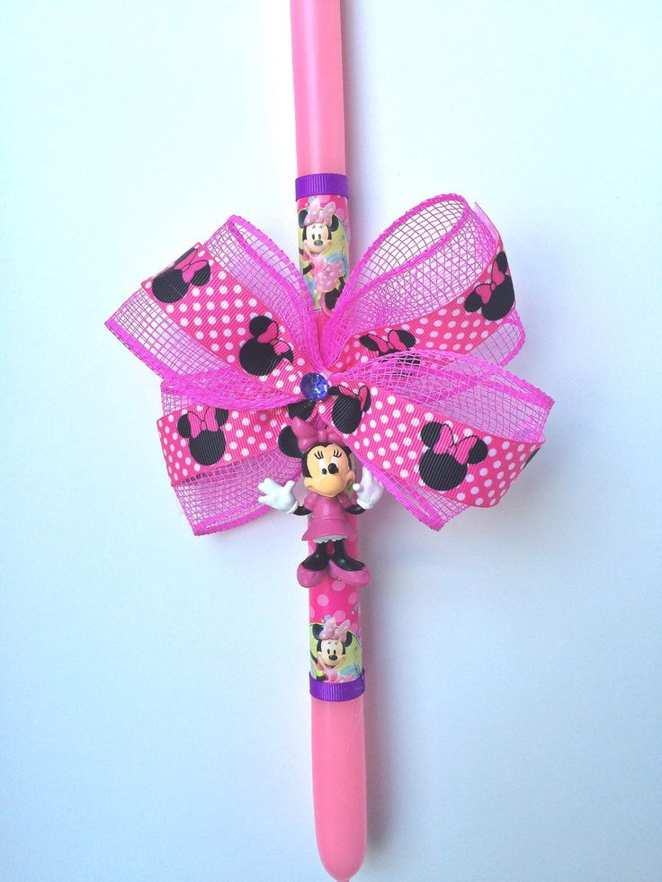 A personal favorite from my Etsy shop https://www.etsy.com/listing/223936106/minnie-mouse-greek-easter-candle-lambada