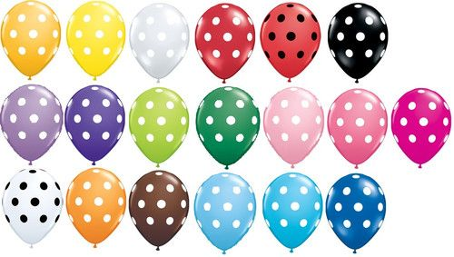 6 Your Choice Color POLKA DOTS Latex Balloons Pink $3.60