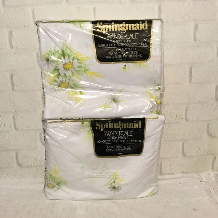 Vintage Sheets Springmaid Wondercale NIP Full Double Bed Flat & Fitted Daisies