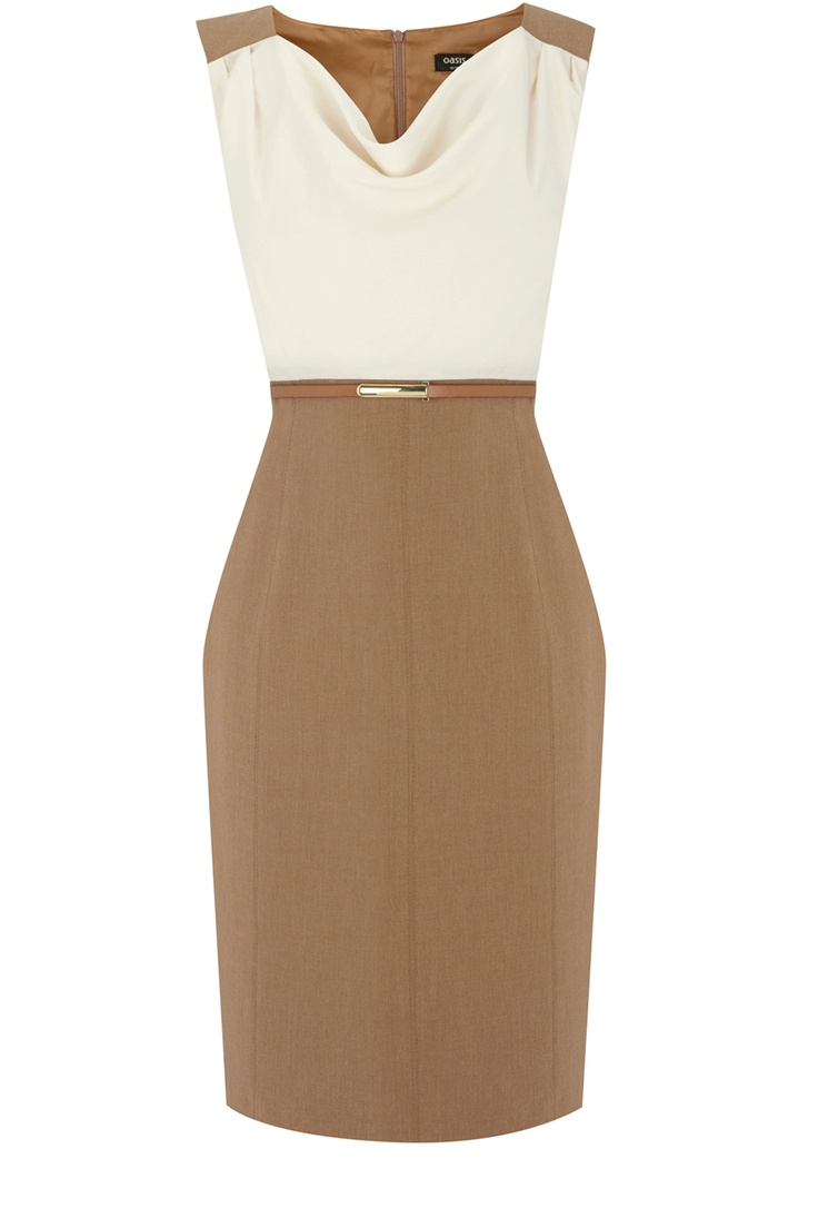 Oasis Clothing | Tan 2 in 1 Workwear Dress - great for summer and winter wear