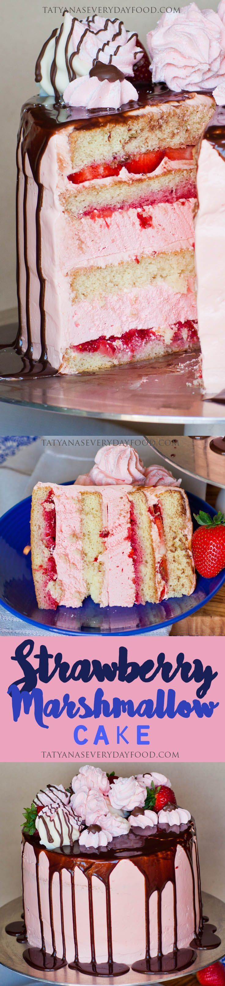 My 'Strawberry Marshmallow Cake' is the ultimate strawberry dessert! I'm using Russian 'zefir' to create pillow-y, melt-in-your-mouth marshmallow layers; adding lots of fresh strawberries between sponge cake layers and frosting the cake with a strawberry buttercream! This cake is loaded with fruity, strawberry flavor! Make sure to watch my video recipe for all the details!