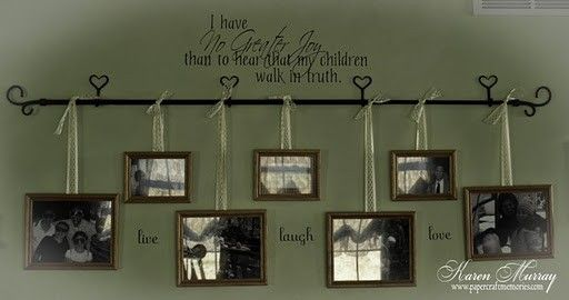 I like this alternative to just hanging pics on the wall... very pretty and fewer nail holes!