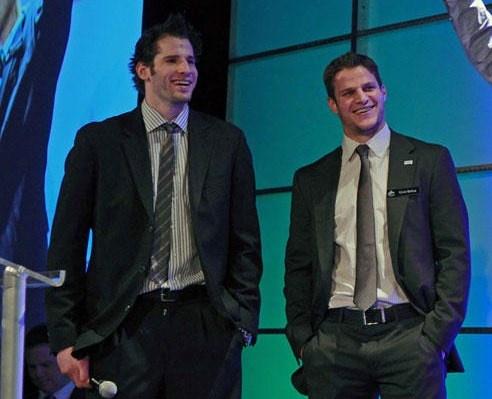 Ryan Kesler and Kevin Bieksa. Vancouver Canucks