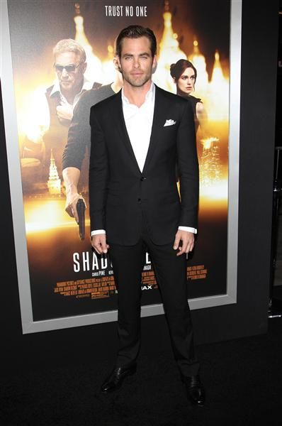 "Chris Pine arrives at the Los Angeles premiere of ""Jack Ryan: Shadow Recruit"" held at the TCL Chinese Theatre in Hollywood, Calif., on Jan. 15, 2014."