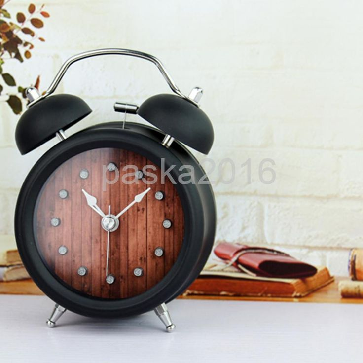 Old Fashioned Analog Twin Bell Non-Ticking Alarm Clock Tabletop Ornaments F