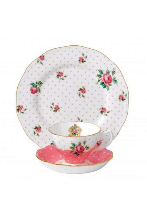 Royal Albert Cheeky Pink Vintage 3-Piece Tea Place Setting