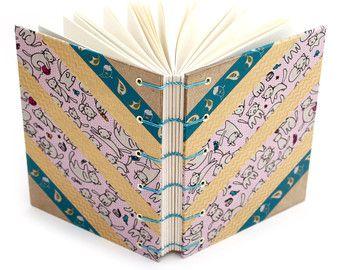 Diario de Washi Tape de gato - hecho a mano por Ruth Bleakley hecha a mano por Ruth Bleakley endecha plana Journal, revista sin forro,
