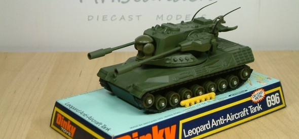 Dinky Toy Leopard Anti-Aircraft Tank. Featured twin missile firing guns on a single turret, as well as raisable rear radar and spinning front radar. This model was produced between 1975 and 1980.