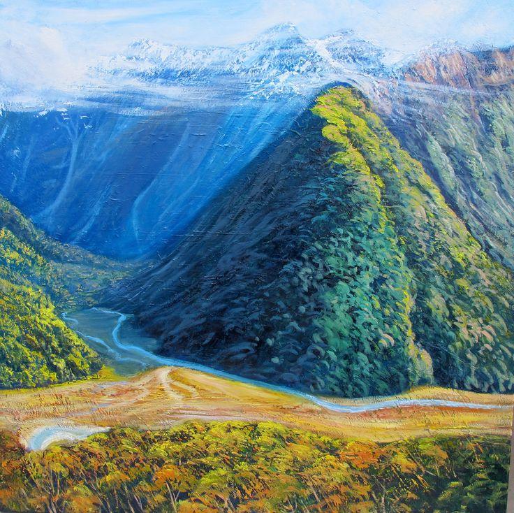 Route burn Valley, NZ - By Helen Blair http://shop.helenblairsart.co.nz