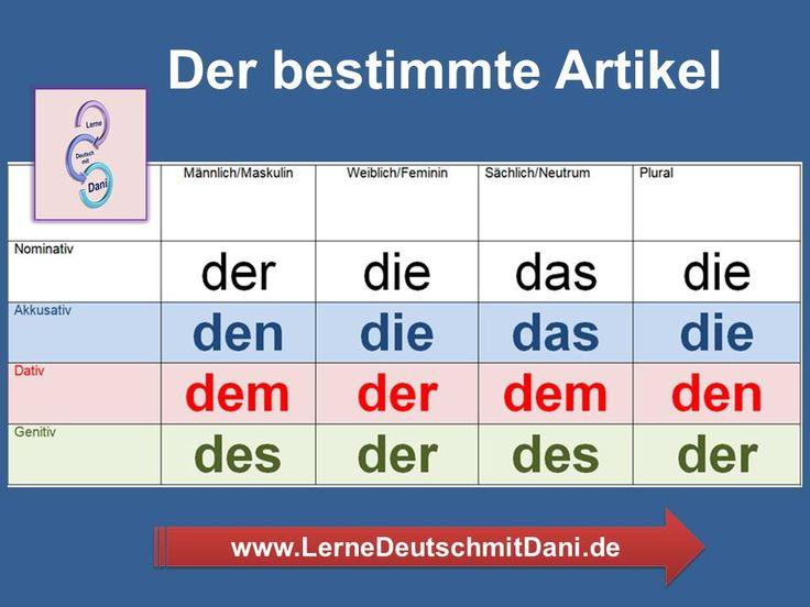 Deutsch lernen Bestimmter Artikel in 2020 Deutsch lernen