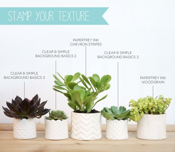 DIY Stamped Clay Succulent Pots   Damask Love Blog