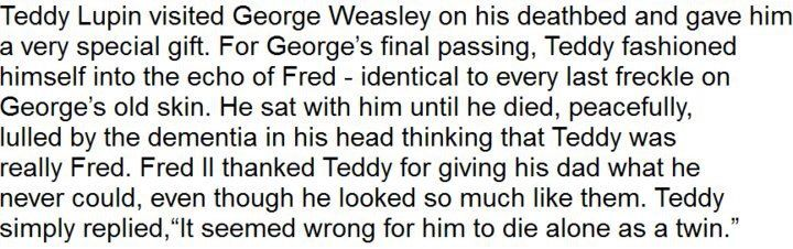 Teddy Lupin is a sweetheart and   I wept after reading this.