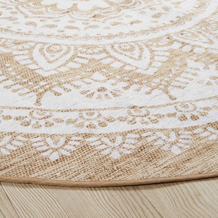 Runder Teppich Aus Jute Und Weisser Baumwolle D180 Maisons Du Monde Round Rugs Jute Round Rug Maisons Du Monde