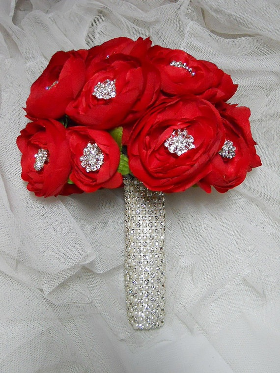 Bridal / Wedding bouquet  Bling bouquet with Red by ArtHouseBridal, $150.00