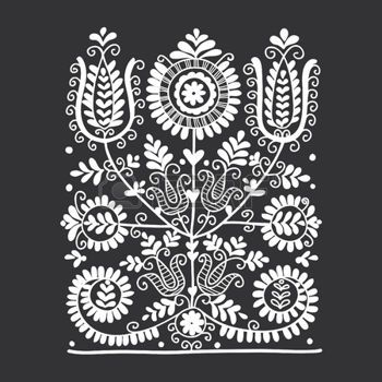hungarian folk: Floral folk ornament, vector illustration