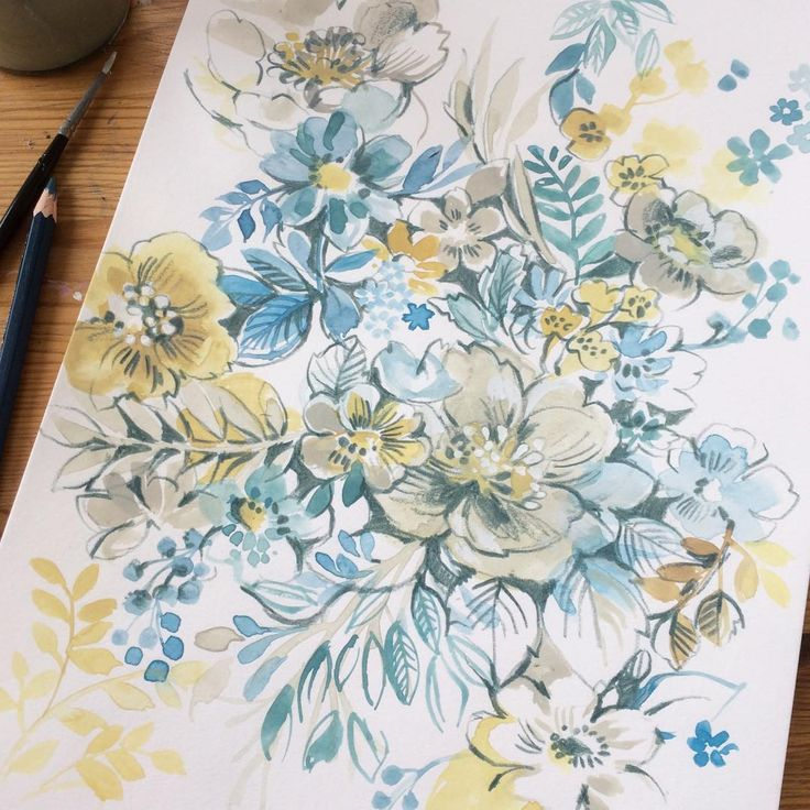 Watercolor flowers #pretty #watercolor #art #flowers #floral #blue #yellow #painting #drawing