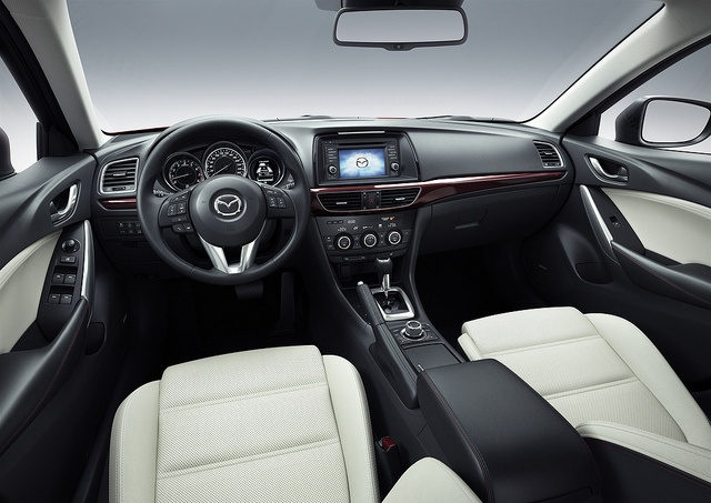 Available contrasting leather trim takes the all-new 2014 #Mazda6's interior to a new level of elegance and style.  #Mazda6