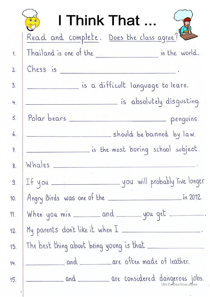 Read And Complete I Think That English Esl Worksheets Learn English Words Writing Exercises Learn English Basic english worksheets for adults