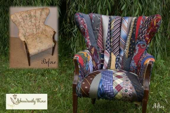 Amazing chair reupholstered with vintage neckties.  By etsy seller Abundantly More http://www.etsy.com/shop/AbundantlyMore