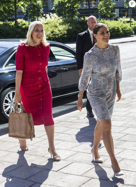 Royals & Fashion - Princess Victoria and Princess Mette Marit attended the first day of the forum on food EAT held in Stockholm.