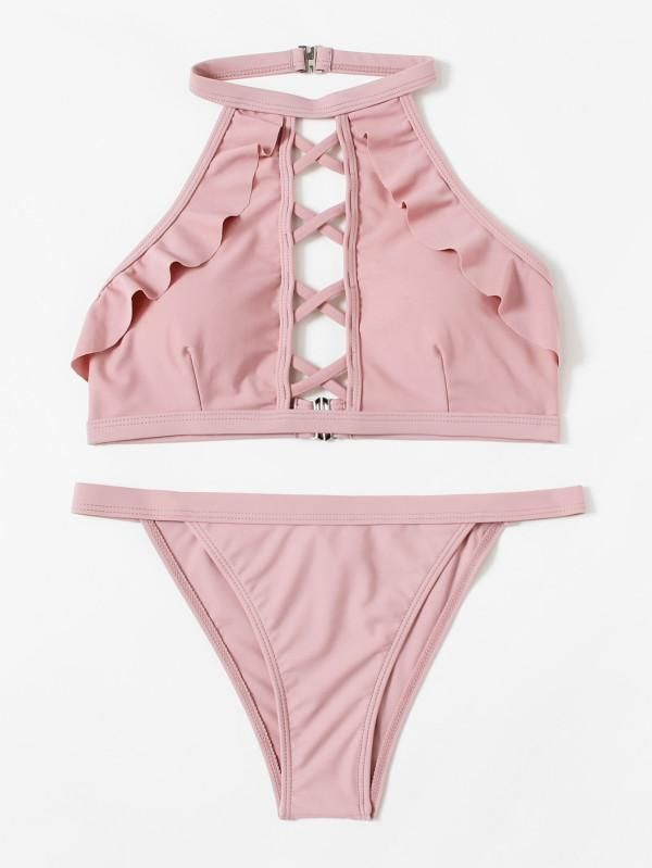 4512817e7dc11 Criss Cross Ruffle Bikini Set | Trend Way Dress | Bikini underwear ...
