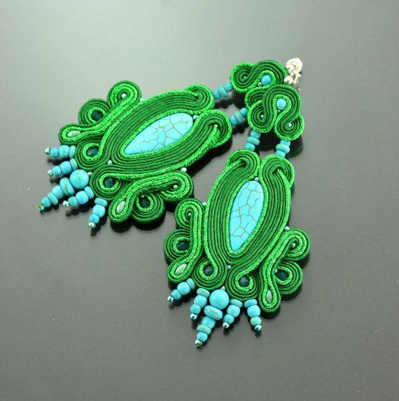 Long Soutache Earrings Batoidea - Turquoise Green Long Dangle Earrings - Green Earrings - Turguoise Green Dangle Earrings Oriental Earrings