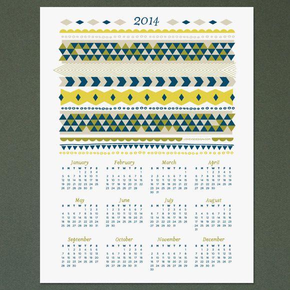 Free 2014 Calendar Printable | Love vs Design