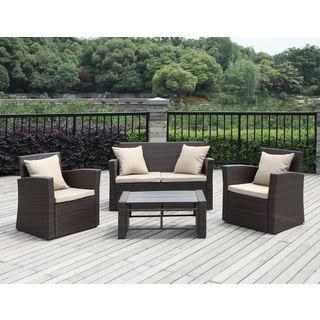 Portfolio Aldrich Brown 4 Piece Indoor/Outdoor Resin Wicker Set (Brown),  Size 4 Piece Sets, Patio Furniture (Aluminum)