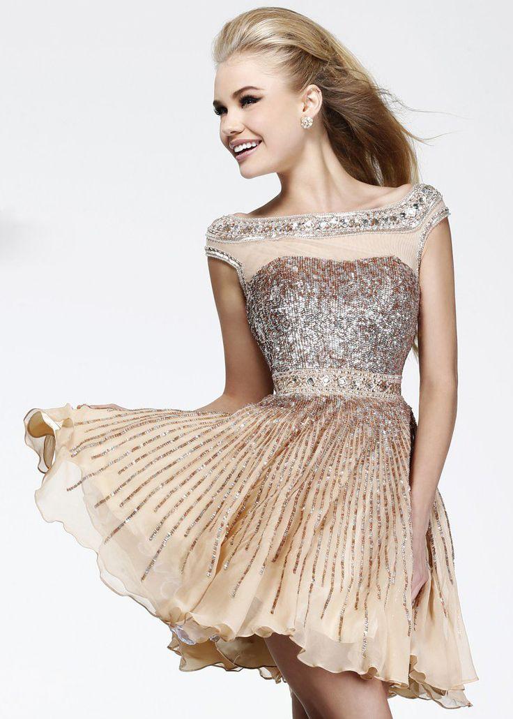 Shop New 2014 Sherri Hill Prom Dresses, find Sherri Hill 8518 nude beaded sheer short dress at RissyRoos.com.