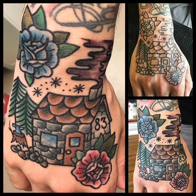 jennahayestattoo - Ruined @richardtweed life! @handanddagger #tattoo #traditionaltattoo #traditional #realtattoos #real_traditional #topclasstattooing #oldlines #besttradtattoos #ladytattooer #bright_and_bold #darkartists #tradworkerssubmission #handtattoo #traditionalhandtattoo #housetattoo