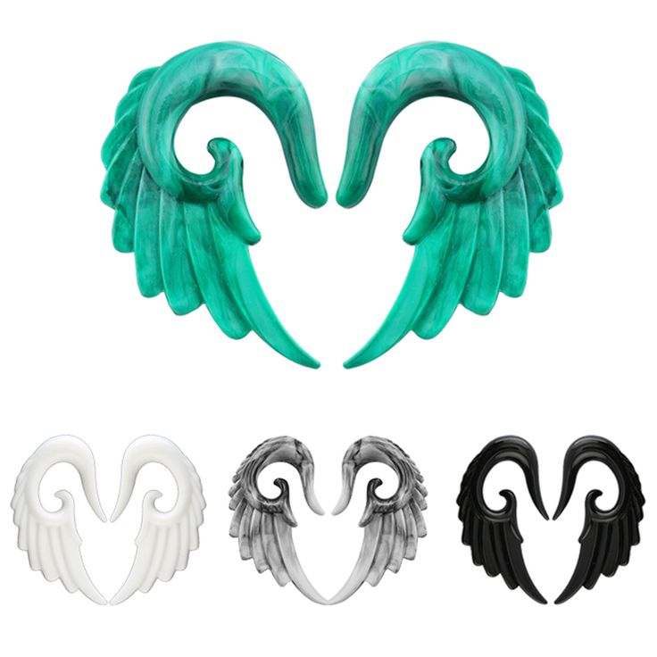 Acrylic Ear Plugs Tunnels Angel Wing Ear Spiral Piercing Taper Stretcher Expander Hot Fashion Ear Plugs Tunnels Piercing Jewelry