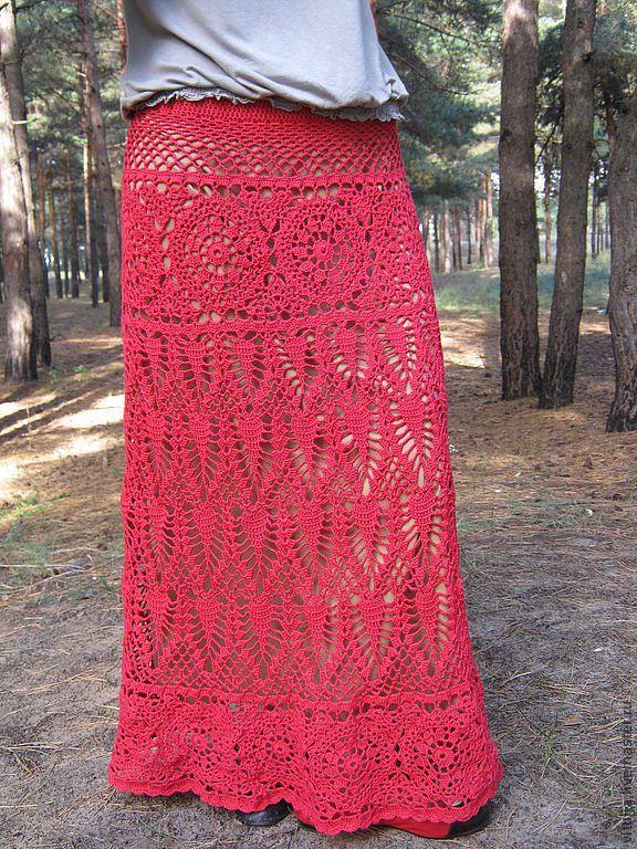 """Купить Длинная юбка в пол """"Красное солнце"""" - ярко-красный, цветочный, юбка, юбка в пол"""