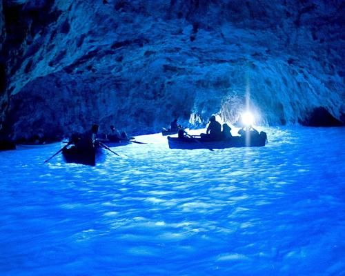 The water in Blue Grotto Capri