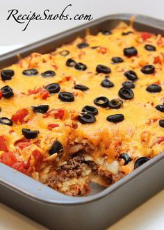Enchilada Lasagna - maybe better with flour tortillas and something to replace the olives (we didn't put in)