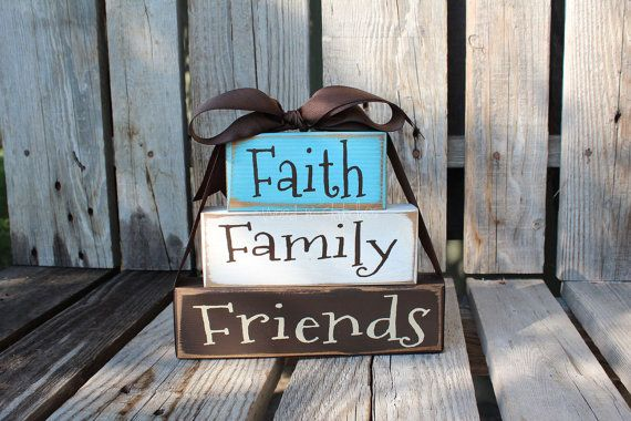 Faith Family Friends Wood Block Set Stacker personalized Inspirational  faith religious christian custom wood blocks primitive country gift