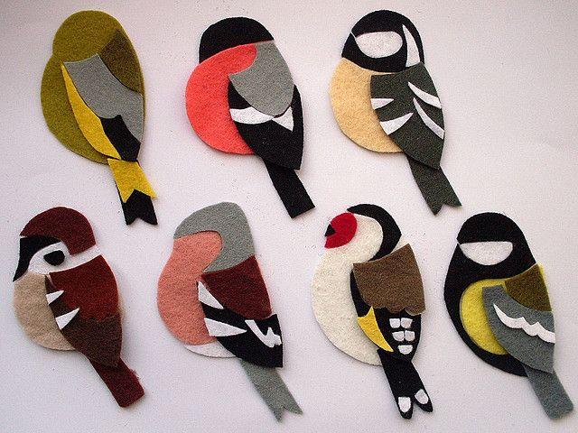 Felt Birds Brooches work in progress by Crafting 365 in Flickr