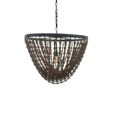 Stunning Deco Large Industrial Chandelier with Natural Beads available at the General Store Furniture Co