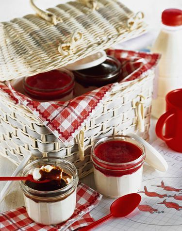 basket of assorted jams.