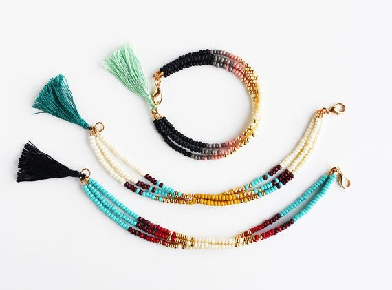Multicolor Beaded Friendship Bracelet with Tassel by feltlikepaper