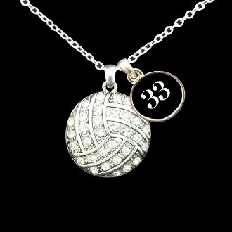 Custom Number Volleyball Necklace