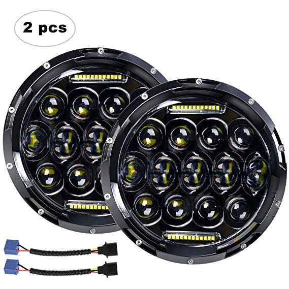 "<b>LED Headlight</b> for Jeep Wrangler AAIWA <b>7</b>"" 75W <b>Round</b> LED ..."
