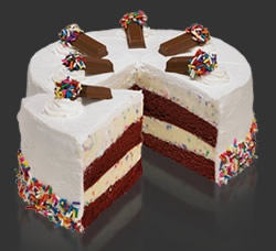 Cake Batter Confetti Cake at Cold Stone Creamery - with Red Velvet layers!  I've had this - so yummy!