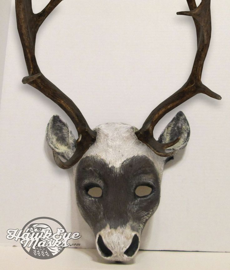 Caribou mask, realistic costume animal mask, faux antlers, made to order, handmade, hand painted, masquerade mask, Carnival mask by HawkEyeMasks on Etsy