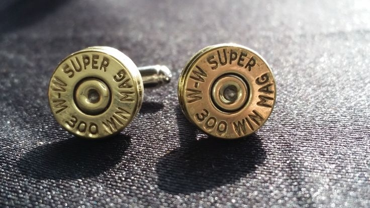 300 Win Mag Brass Cufflinks