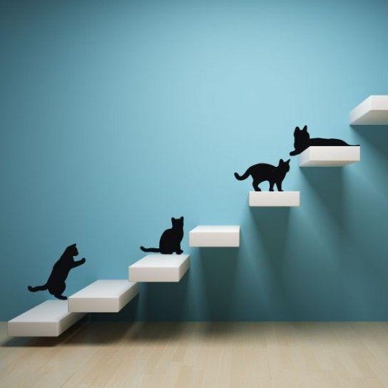 Gatti divertenti - Come decorare casa con gli stencil in modo divertente.