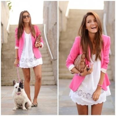 Blazer + Dress & pink + puppies <3