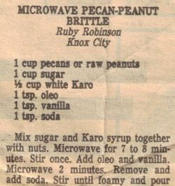 Microwave Pecan-Peanut Brittle Recipe Clipping
