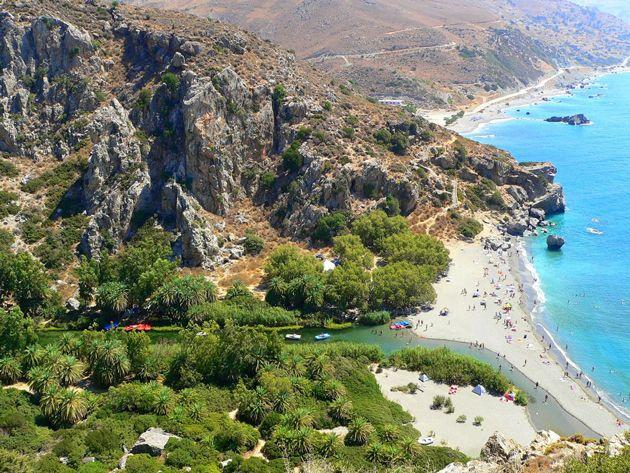 Preveli beach, south coast, Rethymno, crete, Greece