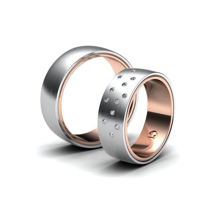 Krasný snubní prsten, který se skládá ze dvou druhů zlata. Vnitřní je tvořena z červeného zlata, vnější kruh je tvořen z bílého. V dámském prstenu je rozmístěno 11× 1,25 mm kamenů. Pánský prsten bez kamene. Povrchová úprava je matná.